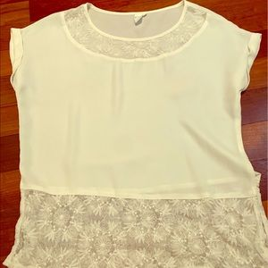 ELLE white top with lace embellishment